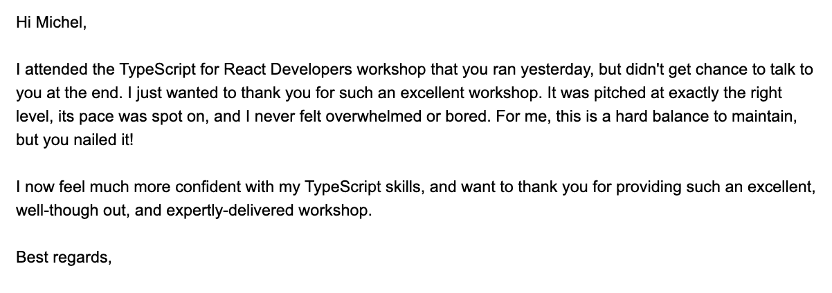 Thank You email by attendee